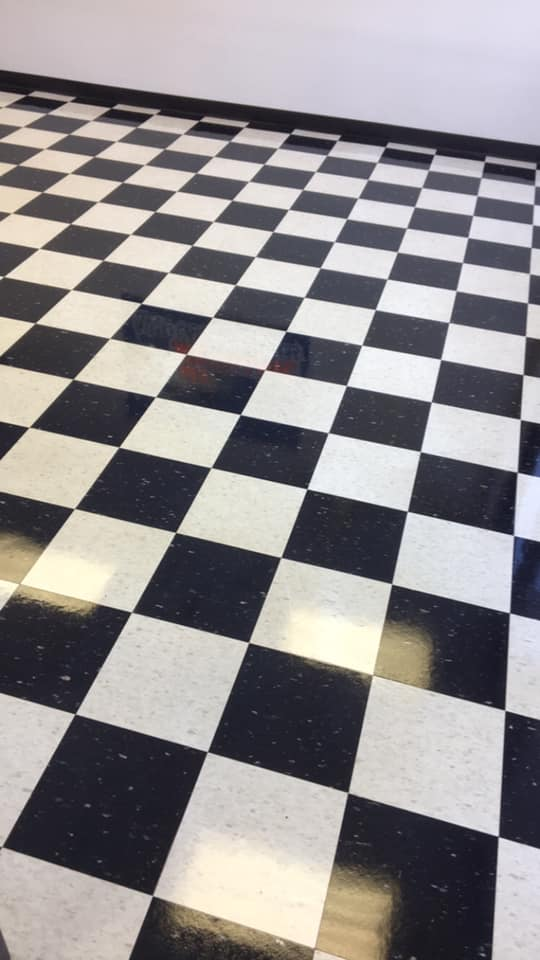 Floor Strip and Wax on Checkerboard Tile