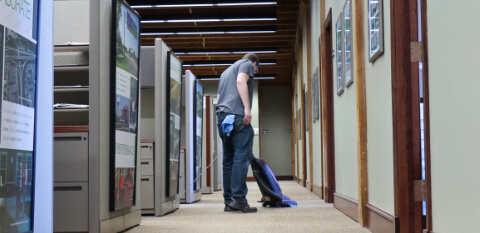 Commercial carpet cleaning in office hallway
