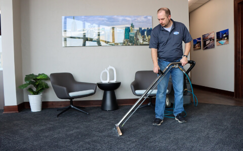 commercial cleaning staff professionally cleaning office carpets