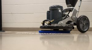 close up of hard floor cleaning machine