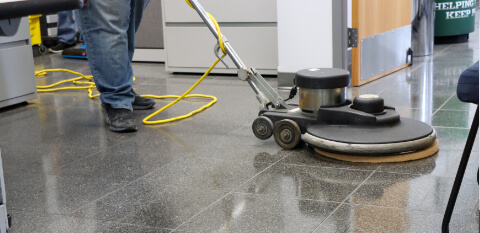 hard floor cleaning in an office